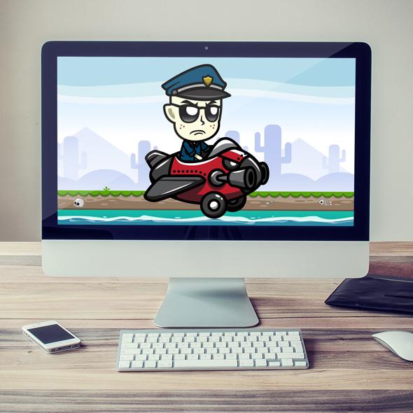 Grumpy Cop The Pilot game asset sprite