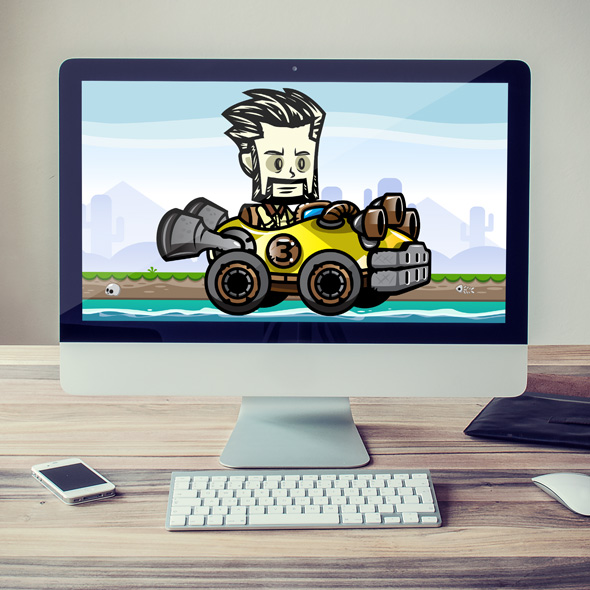 Racing Bearded Man Game Character Sprites for game developers.