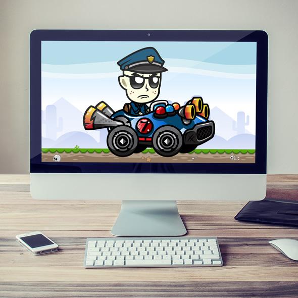 grumpy cop - racing game asset character sprites
