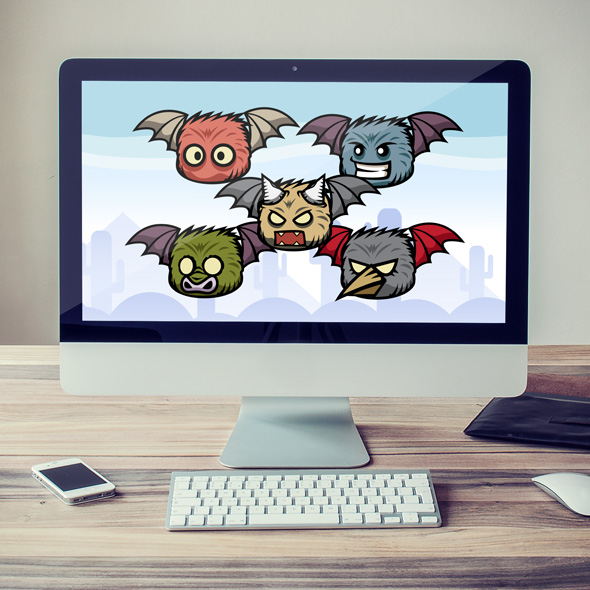 Five Bad Bats | Flying Character Sprites