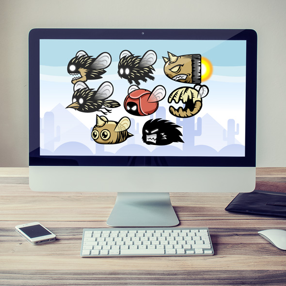 2D game asset - flappy bird monster - nightmare flying creatures sprites for game developers.