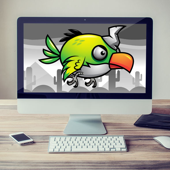 Green Flappy Bird - animation spine 2d sprites game asset