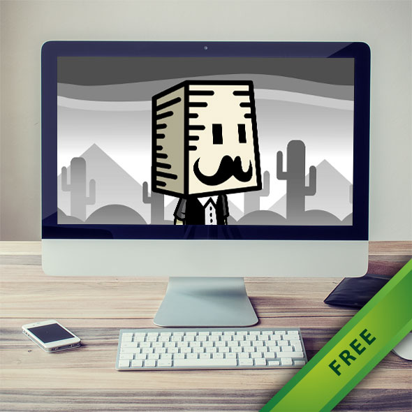 Mustached Box Head Man Game Sprites - 2d free game asset character sprites