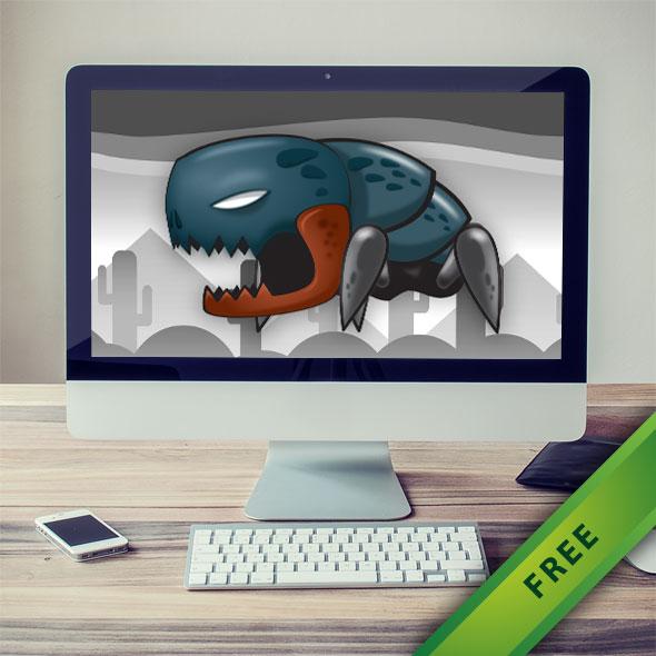 Crawling Alien Monster Sprites - 2d free game asset character sprites