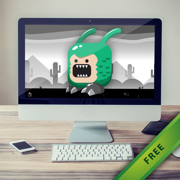 Green Monster with two antenna sprites | Free 2D Game Asset