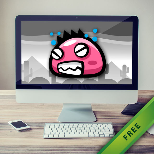 free 2d game asset - pink monster