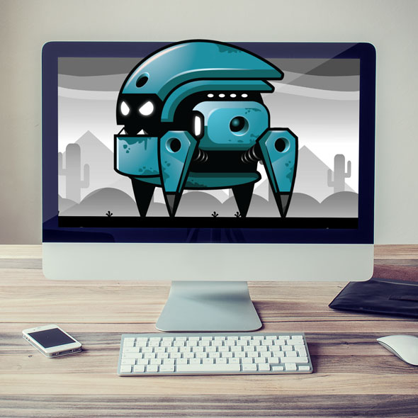 bulky blue robot sprites - antagonist game asset character