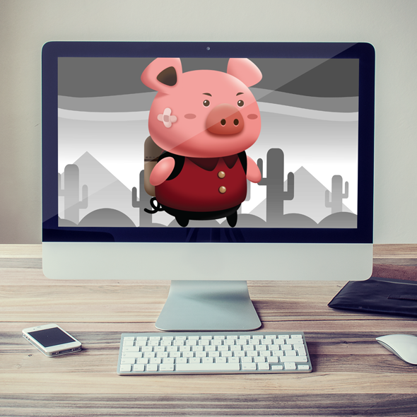 Cute little pig student - 2d sprites game asset character