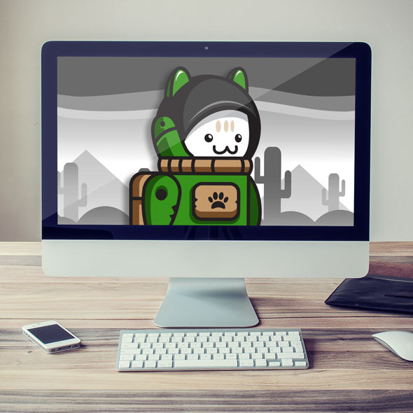 Green Cat Astronaut Game Asset - 2D game character sprites for game developers.
