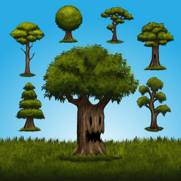 digital painting tree game asset backgrounda