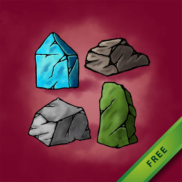 Free 2D game asset - Rock Ornaments for Game Background