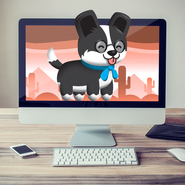 smart dog with glasses - 2D game asset sprites for game developers