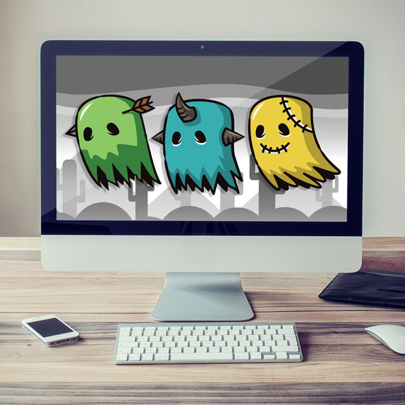 Spooky ghost 2D game asset sprites - Enemy game character for Indie game developers.