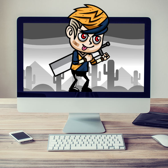 2d game asset - swordman kid game asset - sprite sheets - indie game developers - game character - cartoon - boy character