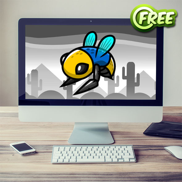 free 2d game asset colorful bee sprites