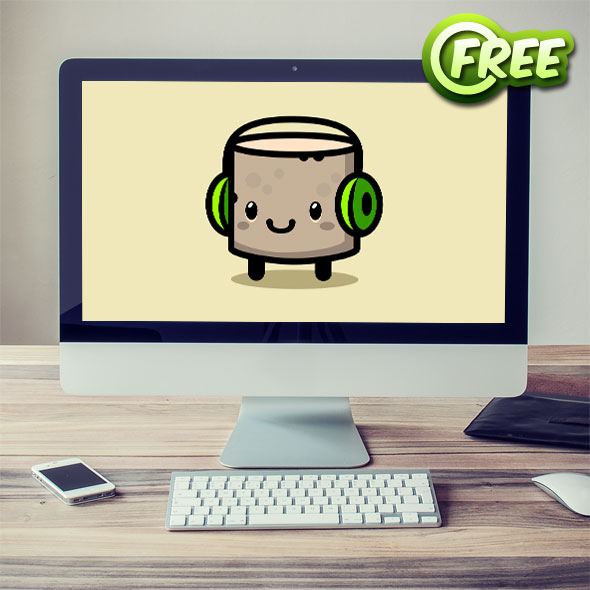 Marshmallow with earpones - Free 2d game asset sprites