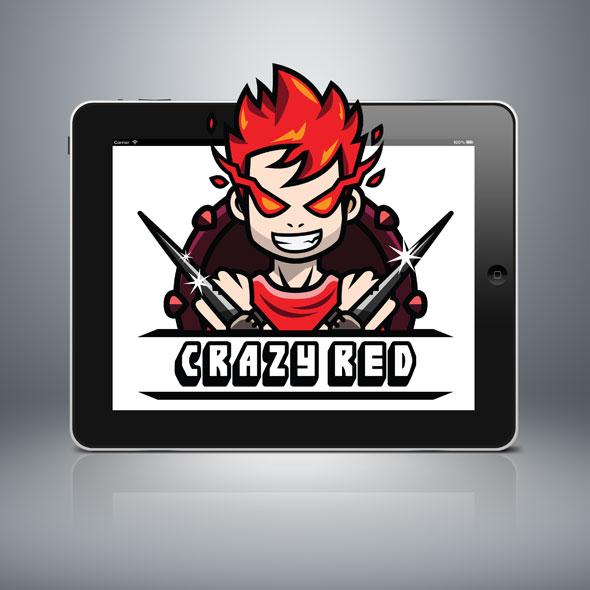 crazy red flame kid logo streamer youtuber gamer squad guild logo