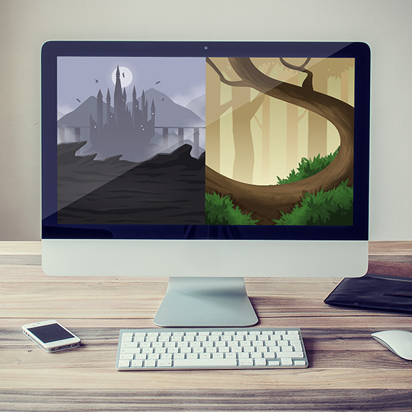 RPG background for trading card game asset
